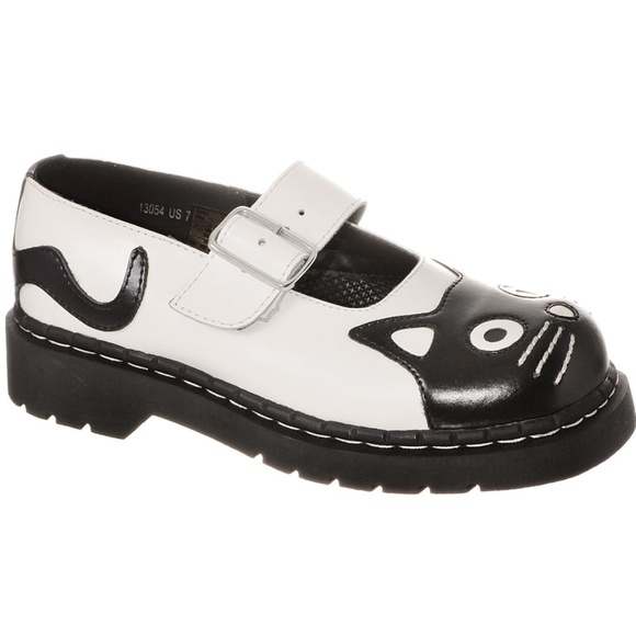 Kitty Cat Face White Black Anarchic Brogue Leather Mary Jane Strap Shoes T.U.K